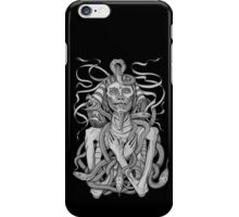 grayscale image of pharaoh mummy with snakes iPhone Case/Skin