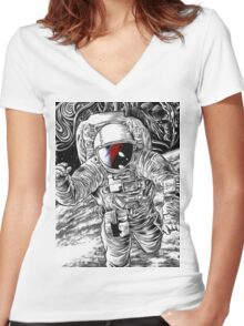 Bowie Star Man Women's Fitted V-Neck T-Shirt