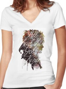 David Bowie // Labyrinth // All Hail the Goblin King Women's Fitted V-Neck T-Shirt