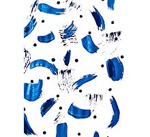 Patterned Blue Brush Strokes Photographic Print