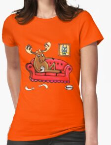 Couch Surfing Moose Womens Fitted T-Shirt