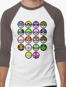 Pokeball Art Men's Baseball ¾ T-Shirt