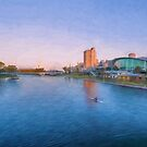 Adelaide Riverbank at Sunset   (OG) by Ray Warren