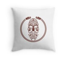 Knotted Viking Dragon Circle Throw Pillow
