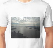 Aerial View, Ellis Island, Statue of Liberty, New Jersey, Hudson River, New York Harbor, One World Observatory, World Trade Center Observation Deck, Lower Manhattan, New York City Unisex T-Shirt