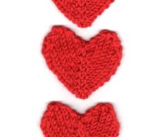 Red Love Hearts Knitted For Your Valentine Sticker