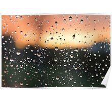 Rain Drops on Window Poster