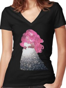 Rose Quartz Women's Fitted V-Neck T-Shirt