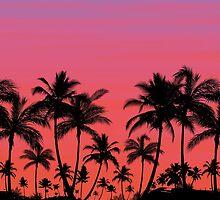 Tropical Palm Tree Sunset // Leggings, Skirt, Scarf, Duvet by hocapontas