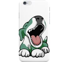Laughing Bull Terrier White & Green iPhone Case/Skin