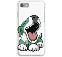 Laughing Bull Terrier White & Green iPhone Case/Skin