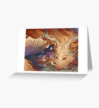 Slumber - Kitsune Fox Dragon Greeting Card