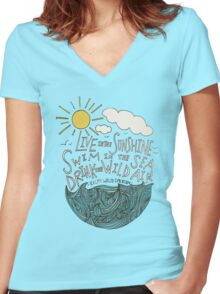 Emerson: Live in the Sunshine Women's Fitted V-Neck T-Shirt