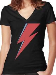 Ziggy Stardust - Lightning - On Black Star  Women's Fitted V-Neck T-Shirt