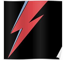 Ziggy Stardust - Lightning - On Black Star  Poster