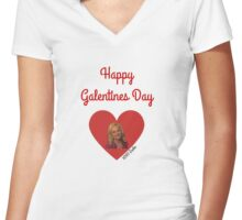 Galentines Day with Leslie: Parks & Recreation Women's Fitted V-Neck T-Shirt