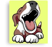 Laughing Bull Terrier White & Brown Canvas Print