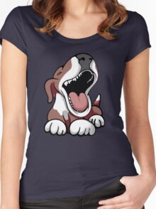 Laughing Bull Terrier White & Brown Women's Fitted Scoop T-Shirt