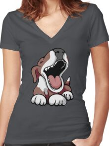 Laughing Bull Terrier White & Brown Women's Fitted V-Neck T-Shirt