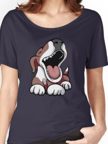 Laughing Bull Terrier White & Brown Women's Relaxed Fit T-Shirt