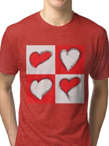 Four Silver and Red Hand Drawn Hearts Tri-blend T-Shirt