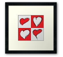 Four Silver and Red Hand Drawn Hearts Framed Print