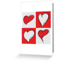 Four Silver and Red Hand Drawn Hearts Greeting Card