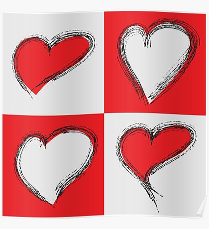Four Silver and Red Hand Drawn Hearts Poster