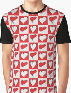 Four Silver and Red Hand Drawn Hearts Graphic T-Shirt