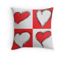 Four Silver and Red Hand Drawn Hearts Throw Pillow