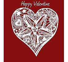 Valentine Heart 4 -  Happy Valentine in White Photographic Print