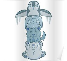 Cute Snow Totem Pole Poster