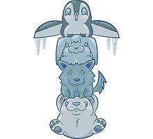 Cute Snow Totem Pole Photographic Print