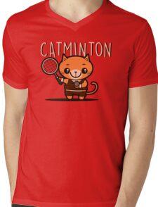 Catminton Mens V-Neck T-Shirt