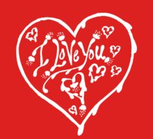 I Love You White  Valentine Heart 12 Kids Tee