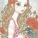 Girl and Kingfisher by genevievem