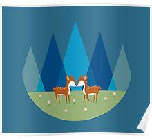 Cute Baby Deer Pattern Poster