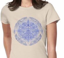 Happy Place Doodle in Cornflower Blue, White & Grey Womens Fitted T-Shirt