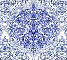 Happy Place Doodle in Cornflower Blue, White & Grey by micklyn