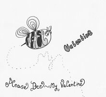 Please bee my valentine - black and white by Stevie the floating artist
