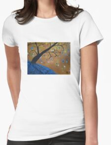 Magical Mystical Tree Blue Womens Fitted T-Shirt