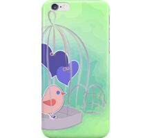 cute birds with cage on watercolor splash  iPhone Case/Skin