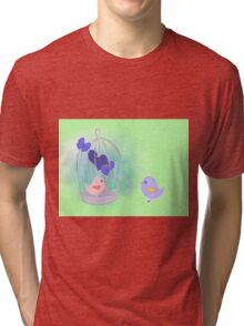 cute birds with cage on watercolor splash  Tri-blend T-Shirt