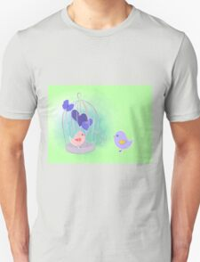 cute birds with cage on watercolor splash  T-Shirt