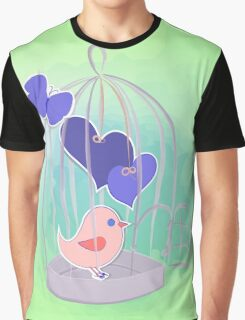 cute birds with cage on watercolor splash  Graphic T-Shirt