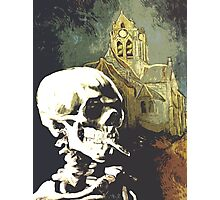Skull with burning cigarette at Auvers church  Photographic Print