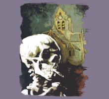 Skull with burning cigarette at Auvers church  Kids Tee