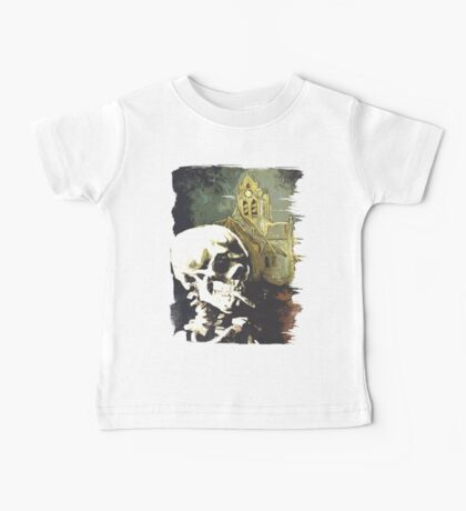 Skull with burning cigarette at Auvers church  Baby Tee
