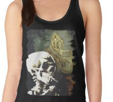 Skull with burning cigarette at Auvers church  Women's Tank Top