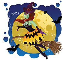 Witch and Full Moon Photographic Print